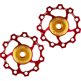 KCNC Jockey Wheel Keramisk Bearing 11 tennepar red